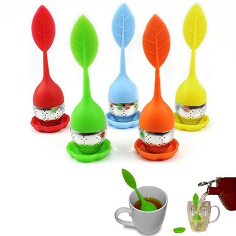 Silikon Tee Infuser Blatt Silikon Infuser mit Lebensmittelqualität machen Teebeutel Filter kreative Edelstahl Teesieb DHL-freies Verschiffen