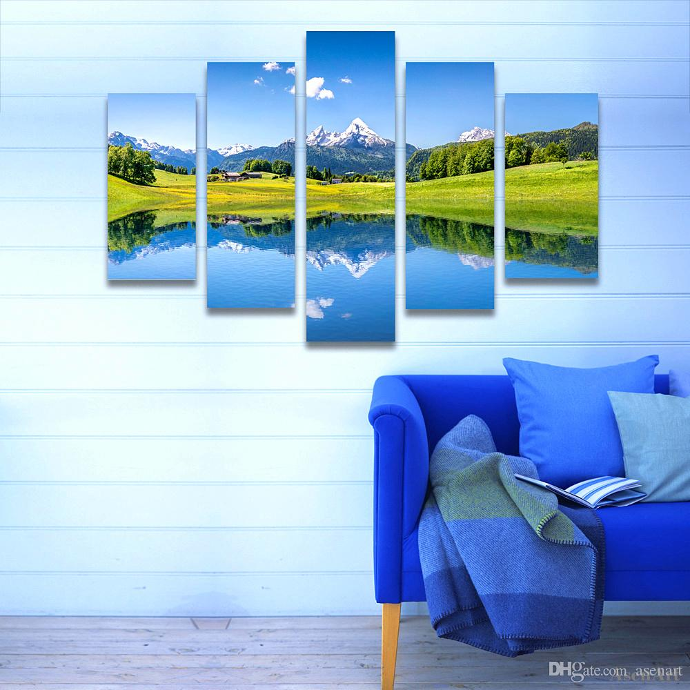 5 Panel Nature Landscape Painting Snow Mountain Lake Scenery Wall Art Picture Home Decoration Living Room Canvas Print Unframed