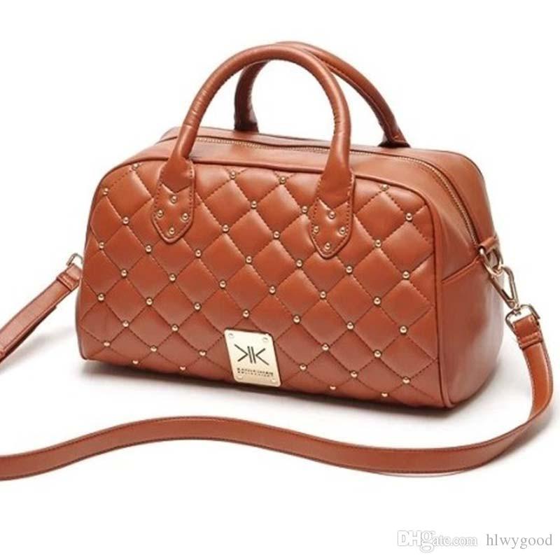 Wholesale-Fashion high quality leather handbags kim Kardashian plaid rivet shoulder bag famous brand handbag women messenger bags work bag