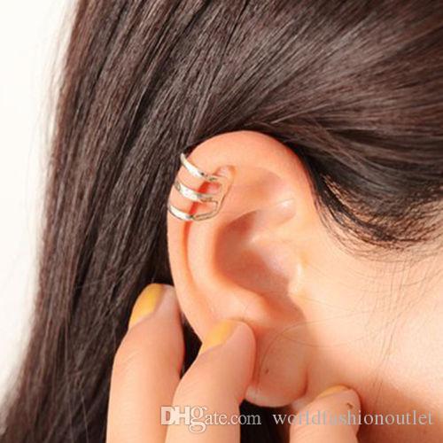 كليب أقراط الشرير الذهب الشظية البرونزية مطلي سلسلة سحر كليب أقراط معدنية الأذن التفاف u الشكل أيا ثقب الأذن الكفة أقراط مجوهرات