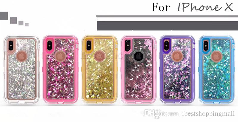 3 in 1 Fashion Glitter Liquid Quicksand Case Crystal Cover For iPhone 11 Pro max X Xr Xs Max 8 Plus Samsung S20 S10 Plus Note 9 S8 S9 Plus