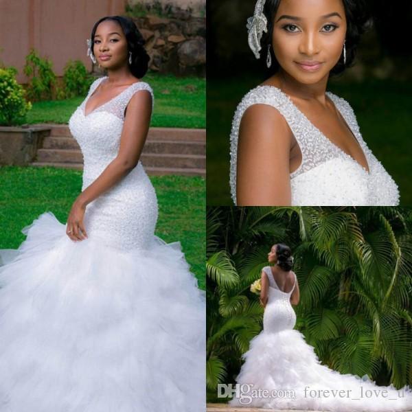 Robe de mariée de luxe sirène robe de mariée Shinny haut perlé lacets dos Fit et évasez volants jupe robe de mariée robes de mariée robes de train longue
