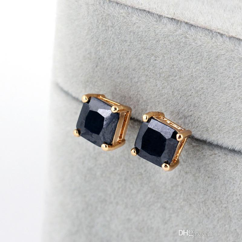 New Cut 100% Natural Brilliant Square CZ Diamond Stud Earrings For Women Fashion Jewelry Rose Gold Plate/Silver Plated SWA Elements