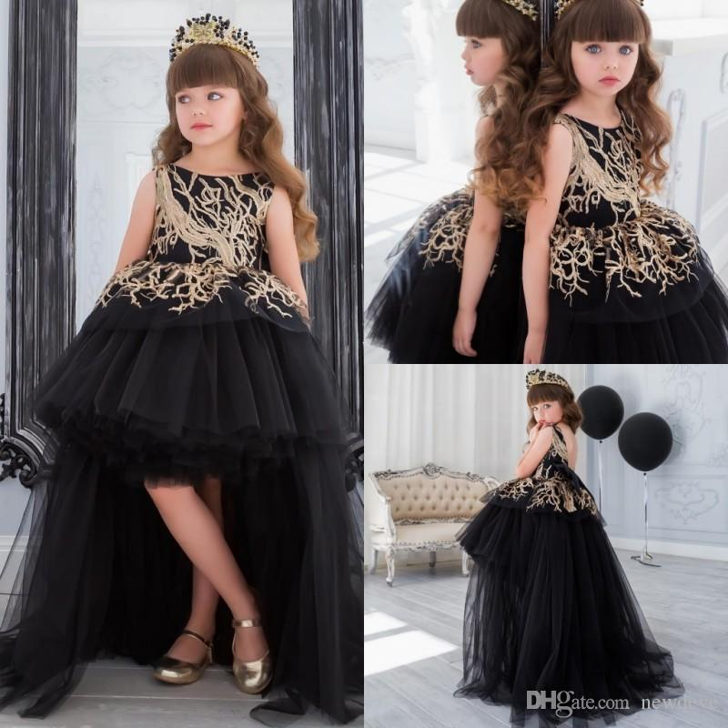 Gold Sequins Flower Girl Dress With Train Black Ball Gown Hi Lo
