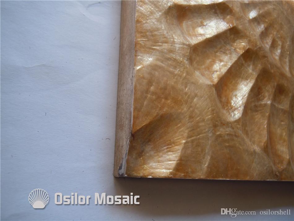 couleur d'or naturel handcrafted shell tuile décorative conseil pour la décoration de salon ou la décoration de plafond CS10