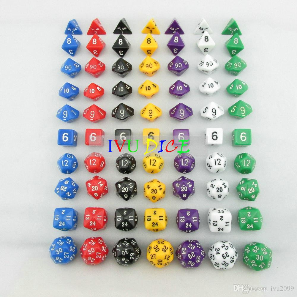 70pcs DND Table BOARD GAME Dungeons&Dragons number dice 7 Colors D4 D6 D8 D10 Purple Black Blue White Green Child Party dices IVU