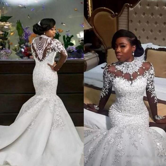 Nigerian Wedding Gowns: 2017 Bling Wedding Dress Nigerian Dresses High Neck