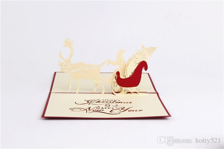 Nuevas tarjetas de Navidad hechas a mano Creative Kirigami Origami 3D Pop UP tarjeta de felicitación con Santa Ride Desgin Postales envío gratis