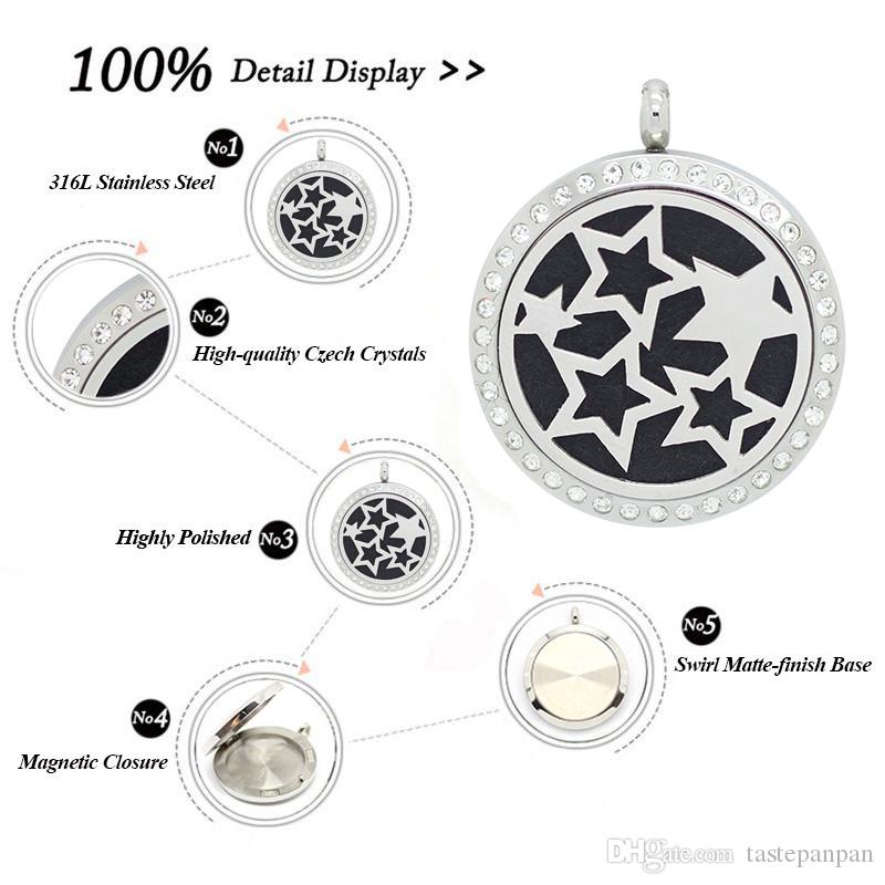 con catena come regalo! collana d'argento locekt del diffusore dell'olio essenziale dell'acciaio inossidabile 316L del profumo del locket del profumo 30mm dell'argento