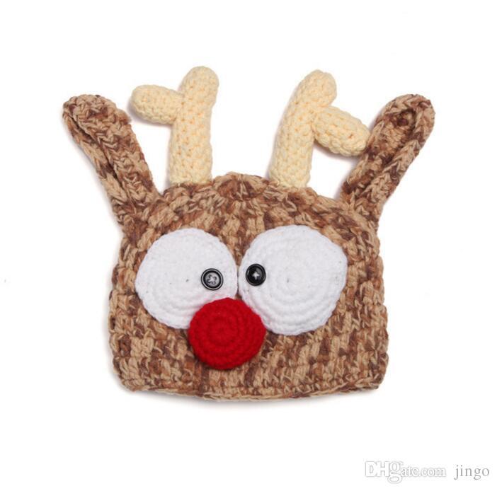 Новорожденные шапочки ручной работы крючком олень рога шляпа милый ребенок олень рога вязание шерстяная шапка для фото реквизит рождественские подарки нт