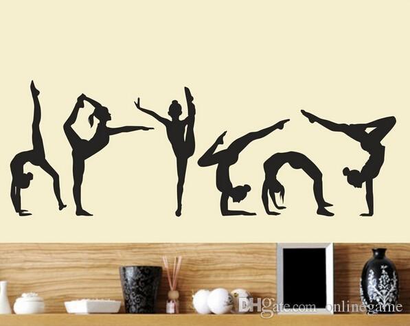 Six Dance Girls gymnastics wall Sticker Sport Vinyl Art Wall Mural Sticker For Home decoration Wall Papers 20*60 // 40*120 cm