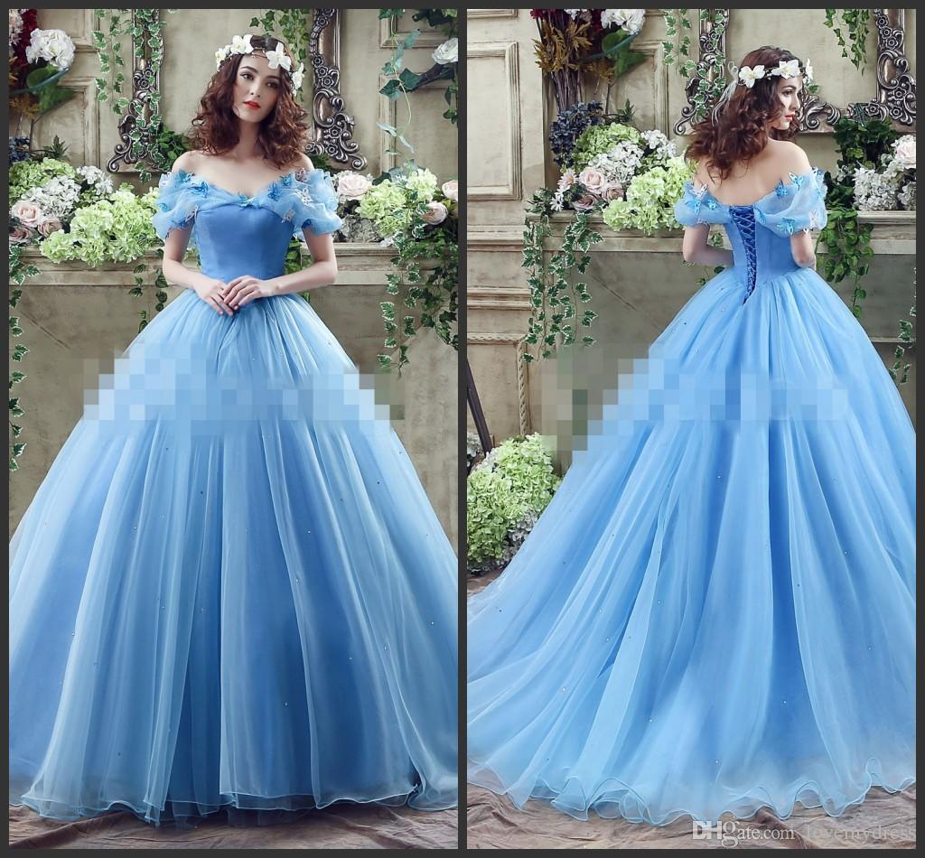 81898311ce2 Cinderella Butterflies Prom Ball Gown Lace Up Back Sweep Train Off The  Shoulder Blue Long Quinceanera Dresses Charming Style Quinceanera  Collection ...