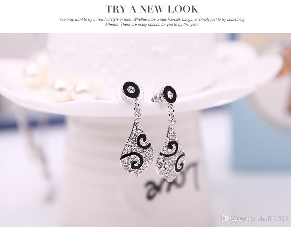 Brand New Crystal Necklace Earrings Sets High Quality Alloy Jewelry For Women Best Gift Min order 61152217