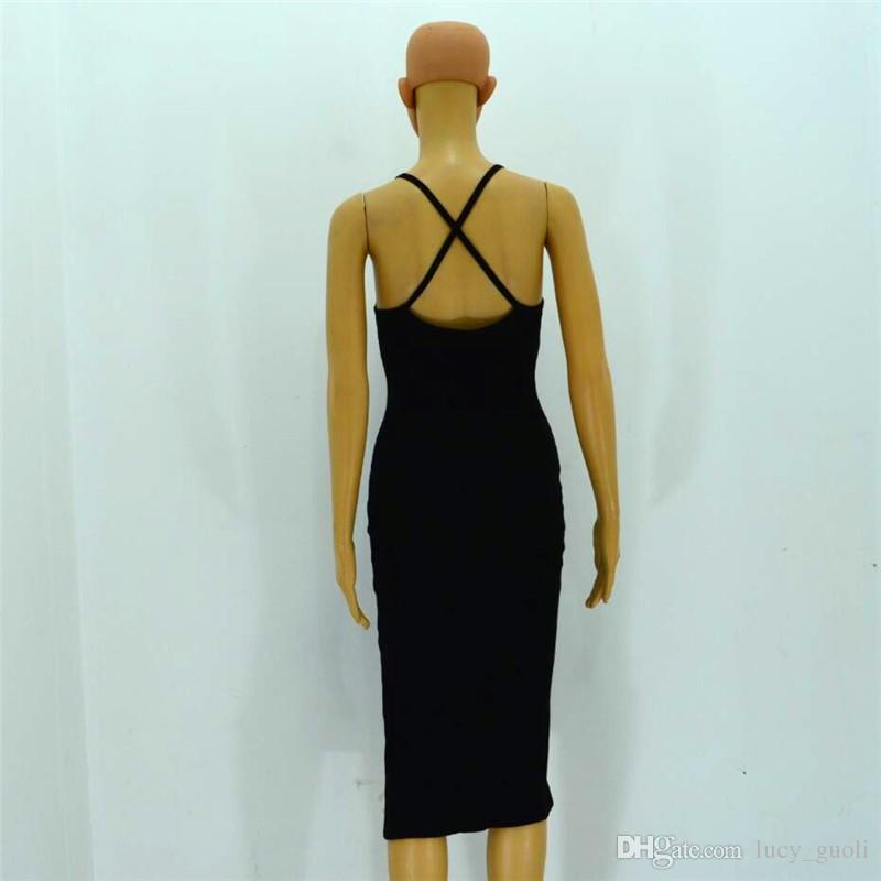 2016 fashion summer style sexy dress women tank dress black side split sleeveless dress female Mid-Calf dresses Backless Criss Cross dress