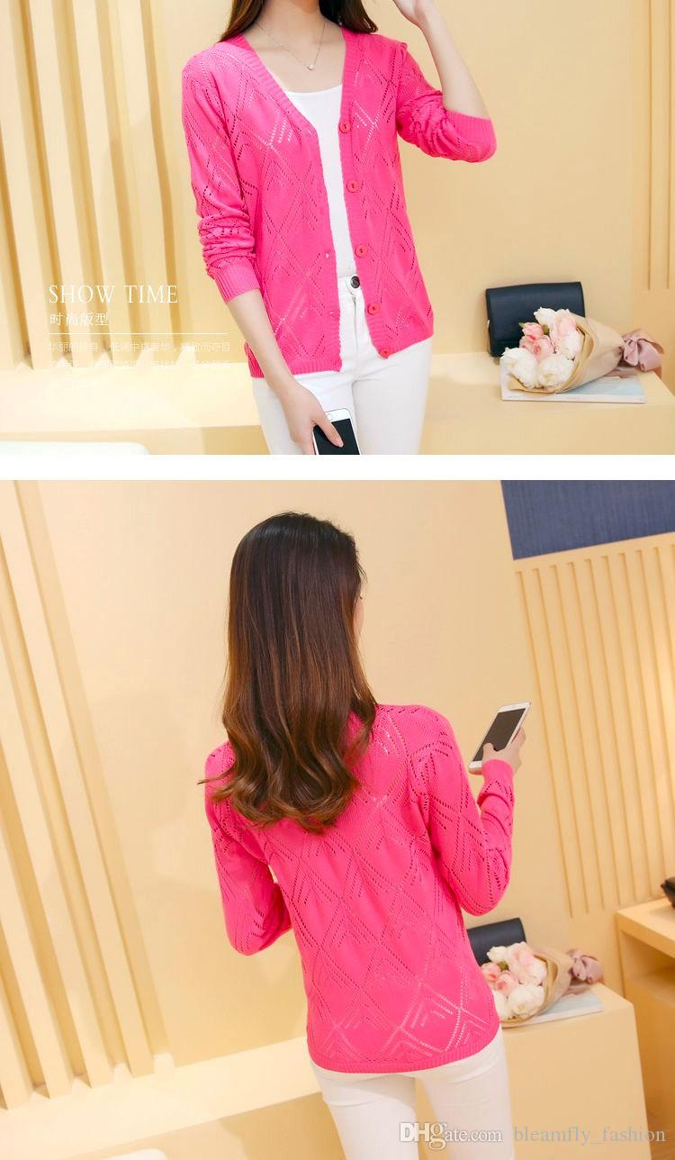Cheap Women Cardigan Long Sleeve Autumn Spring Knitted Tops Pink White Color Basic Coat Female Capes Ponchoes Hollow Out Jacket