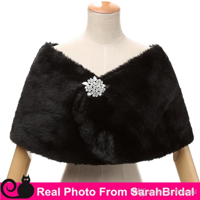 Billig Auf Lager Braut Wraps Gefälschte Kunstpelz Hollywood Glamour Hochzeit Jacken Street Style Fashion Cover up Cape Stola Mantel Shrug Schal Bolero