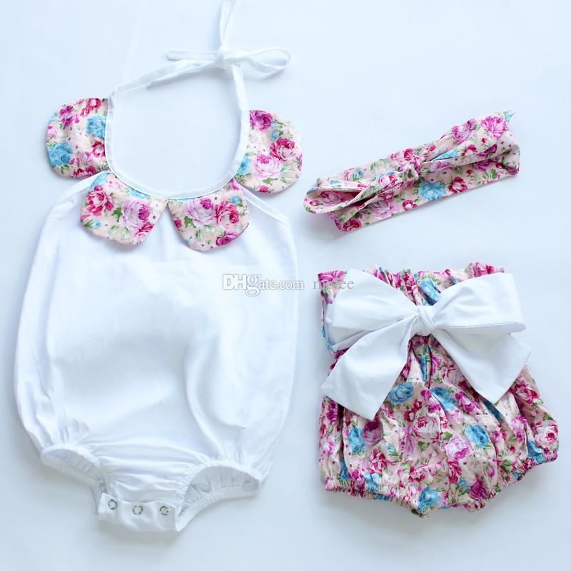 New arrival 2016 baby toddler summer boutiques baby girls vintage floral ruffle neck romper cloth with bow knot shorts headband