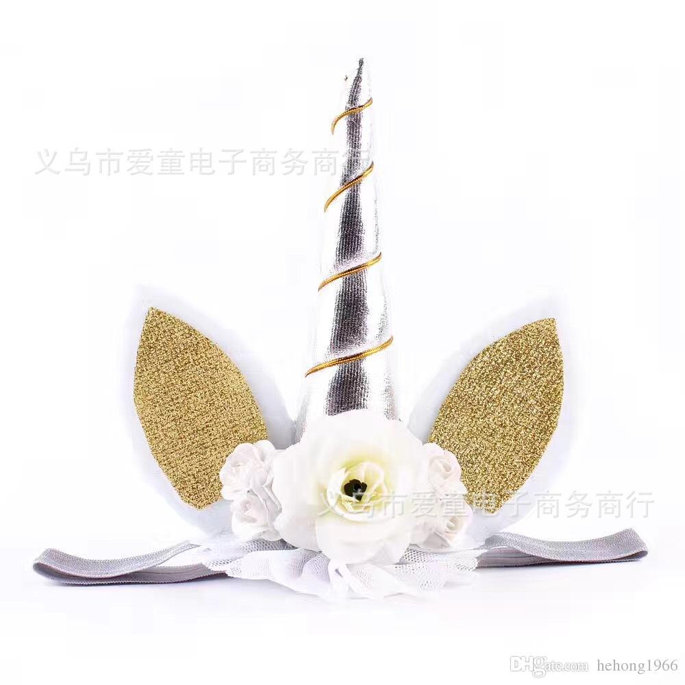 Sparkle Unicorn Headband Multicolor Children Birthday Present Cat Ears Hair Band Girls Hairs Hoop Hot Sale 8 5at C R
