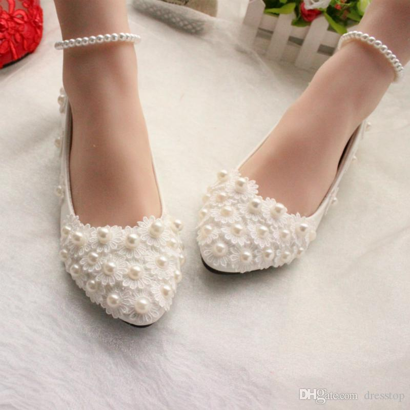 a3d30c4fd18 2016 New Arrival Pearls Lace Flowers Wedding Shoes Flats 3CM Or 8CM Bridal  Heels With Pearl Strap Pointed Toe Heel Flat White Wedding Shoes Fun Wedding  ...