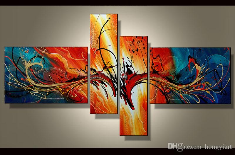 . 100  Hand painted Modern Abstract oil painting 4 pieces painting wall art  canvas Home Office Hotel Decoration picture Contemporary Art abs64