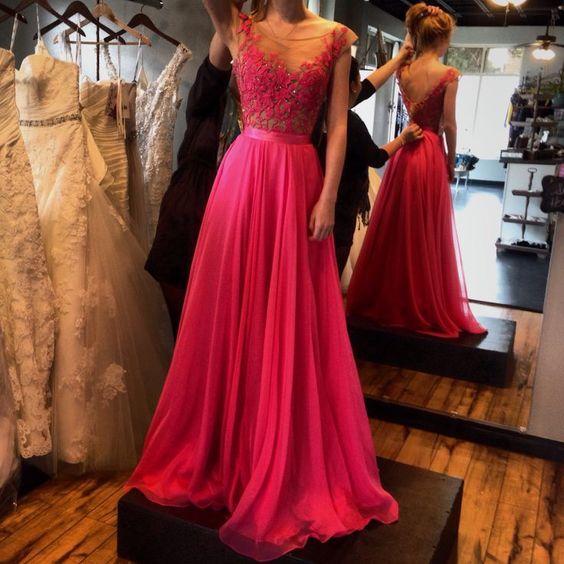 Красный 2016 Вечерние платья Кружевные аппликации с прозрачным вырезом Прозрачные длинные платья для выпускного вечера