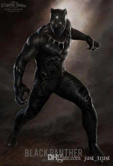 Hot Captain American Black Panther Costume Cosplay Marvel\u0027S The Avengers  Theme Costume Set Bodysuit Halloween Costumes+Helmet+ Shoes Scary Costume  Animal