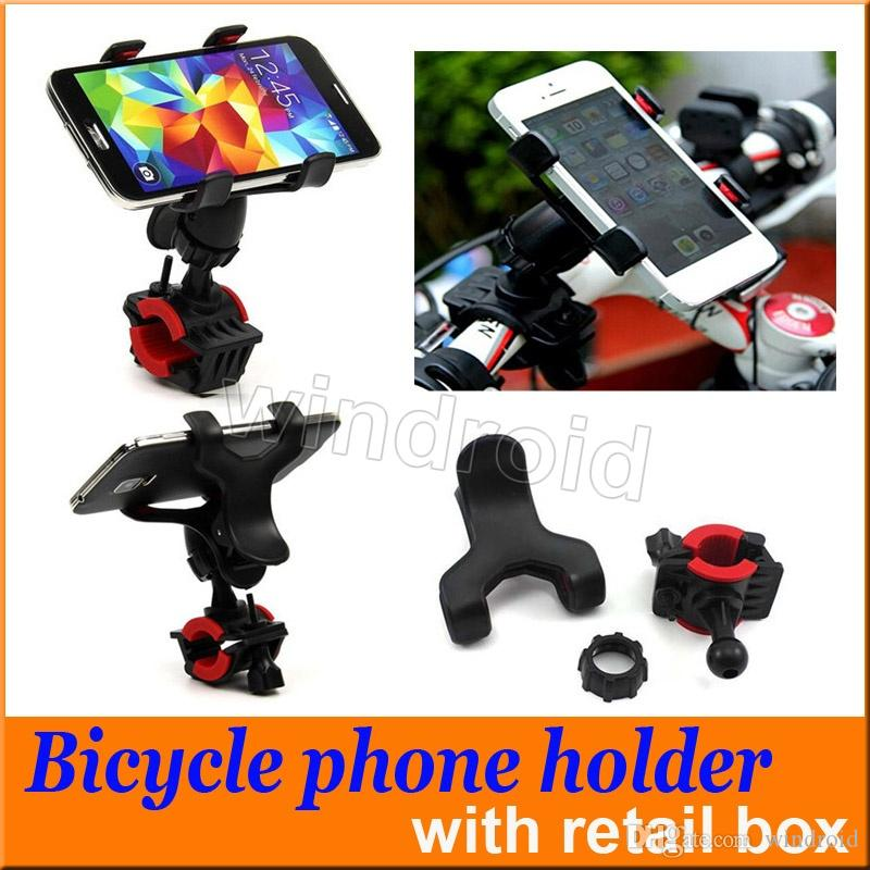 360 Degree Rotatable Universal Bike Bicycle Handle Phone Mount Cradle Holder Cell Phone Motorcycle Handlebar For Iphone 7 GPS retail box