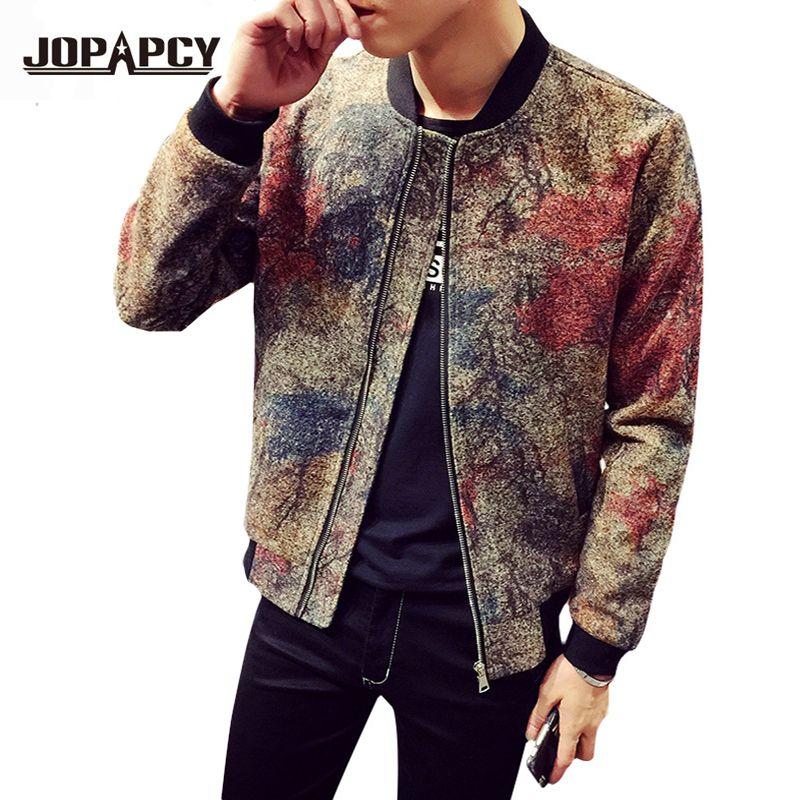Wholesale 2017 New Fashion Harajuku Floral Bomber Jacket Men Zipper