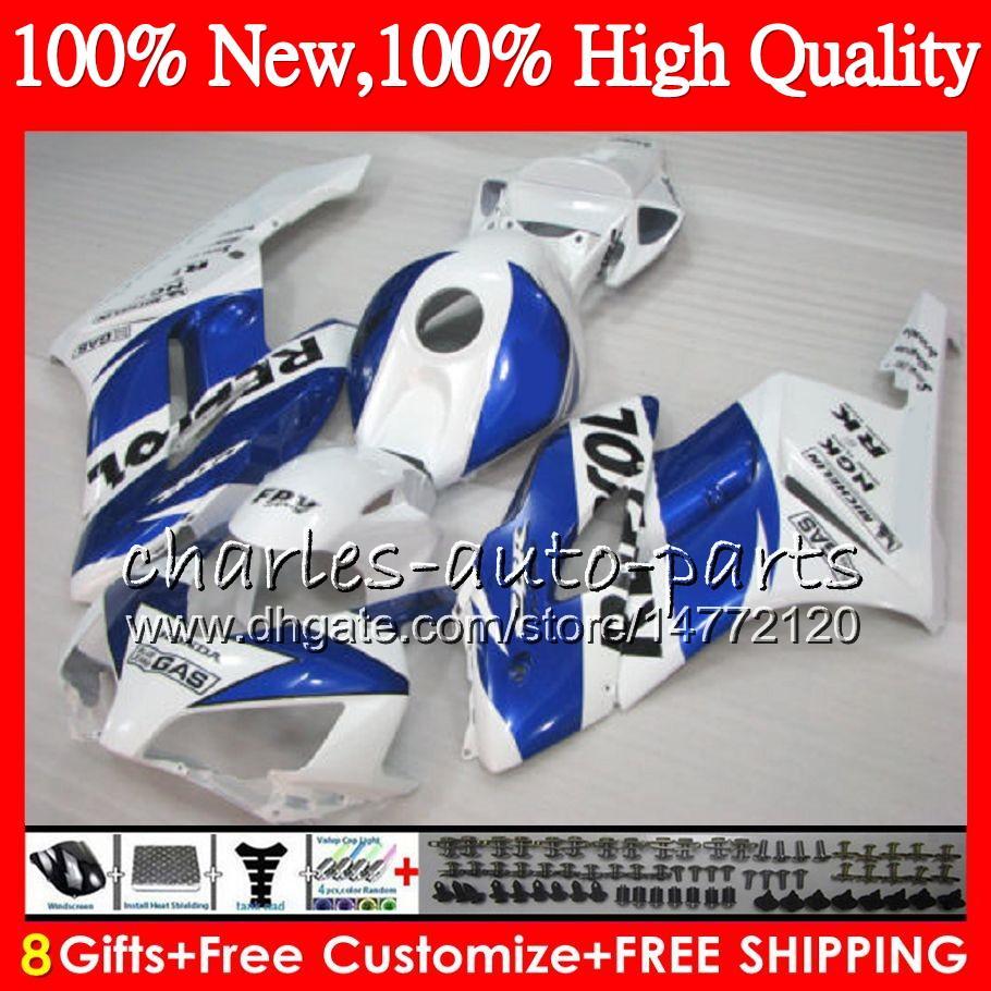 Corpo Injetor Para HONDA CBR1000RR 04 05 CBR 1000RR CBR1000 RR 04-05 Azul Branco HM.51 Repsol CBR1000RR 04 CBR 1000 RR 2004 2005 Kit Carenagem