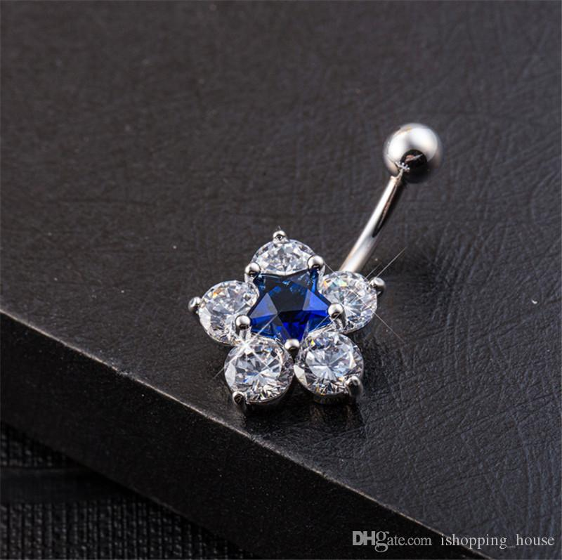 18K White Gold Plated Sparky CZ Star Flower Navel Rings Medical Surgical Piercing Ring Jewelry Steel Bar Belly Button Ring BR-097