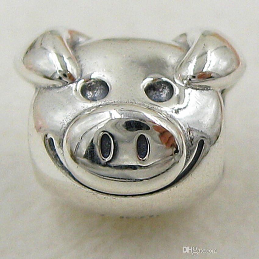 100% Authentic 925 Sterling Silver Thread Playful Pig Charm Bead Fit European Pandora Jewelry Bracelets & Necklace