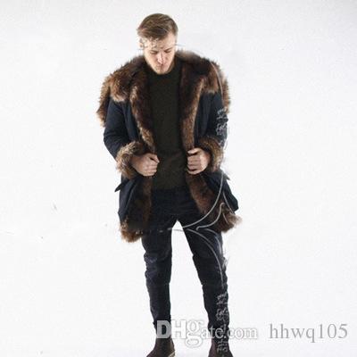 54b13e27fb8 2019 New Winter Faux Fur Long Coat For Men Long Sleeve Hooded Warm Parka  Jacket Outwear Black Fur Trim Windbreaker Skiing Coats CJF0923 From  Hhwq105