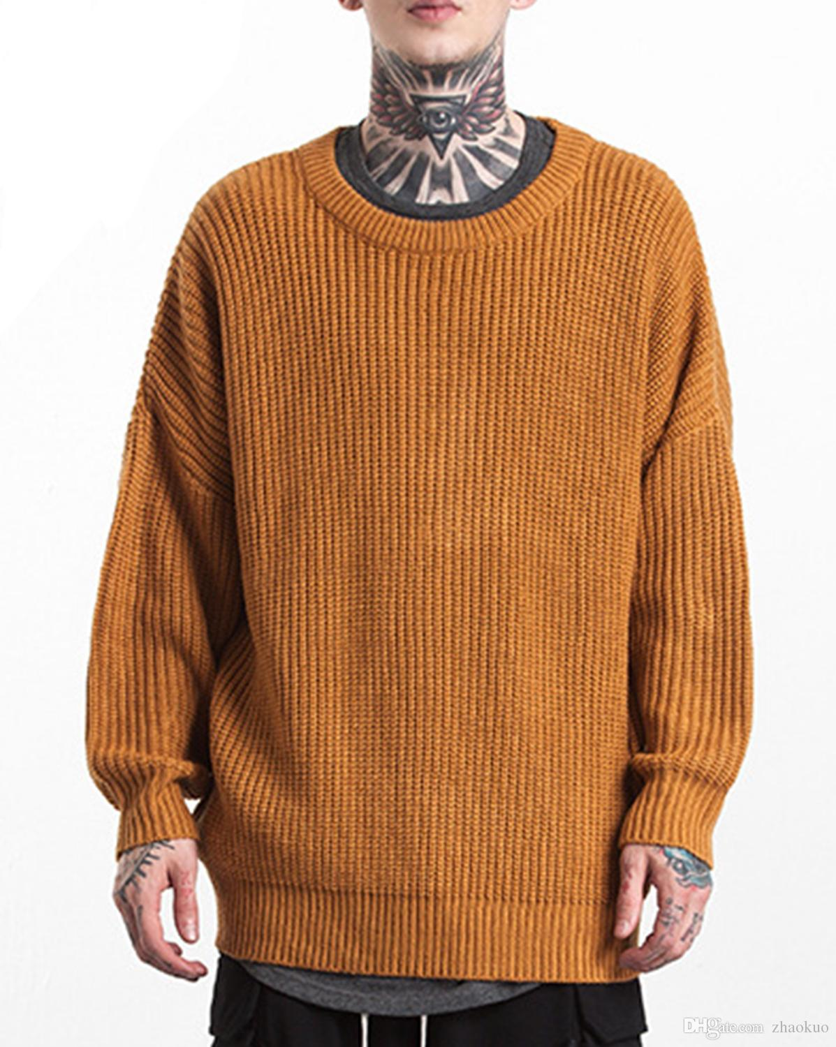 2019 Mens Pullover Sweater Oversized Winter Fashion Knitted O Neck