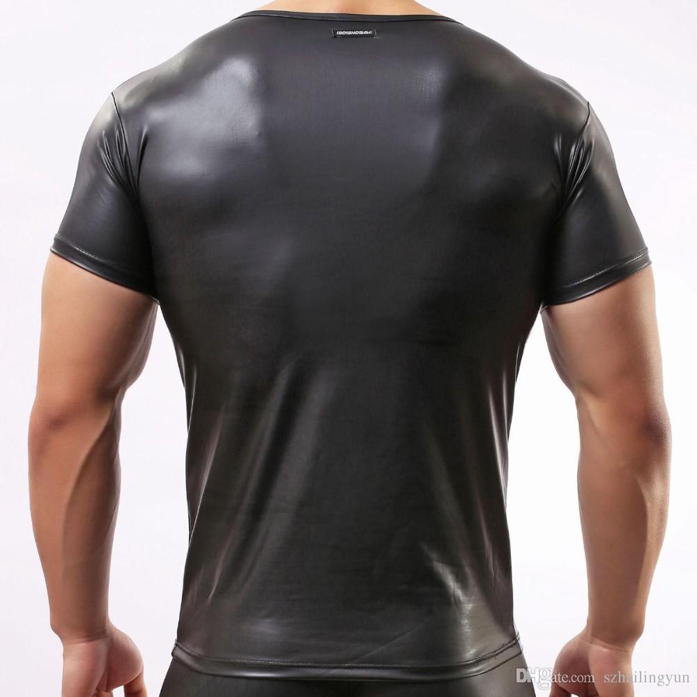 Seksi Erkek Deri Bak T-shirt Eşcinsel Fanila ISLAK BAKMAK Tank Yelek Kas Vücut Kulübü Fetiş Giyim Üst