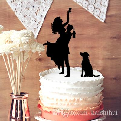 2018 Drunk Bride Groom Silhouette Wedding Cake Topper Mr And Mrs Dog From Kaishihui 1659