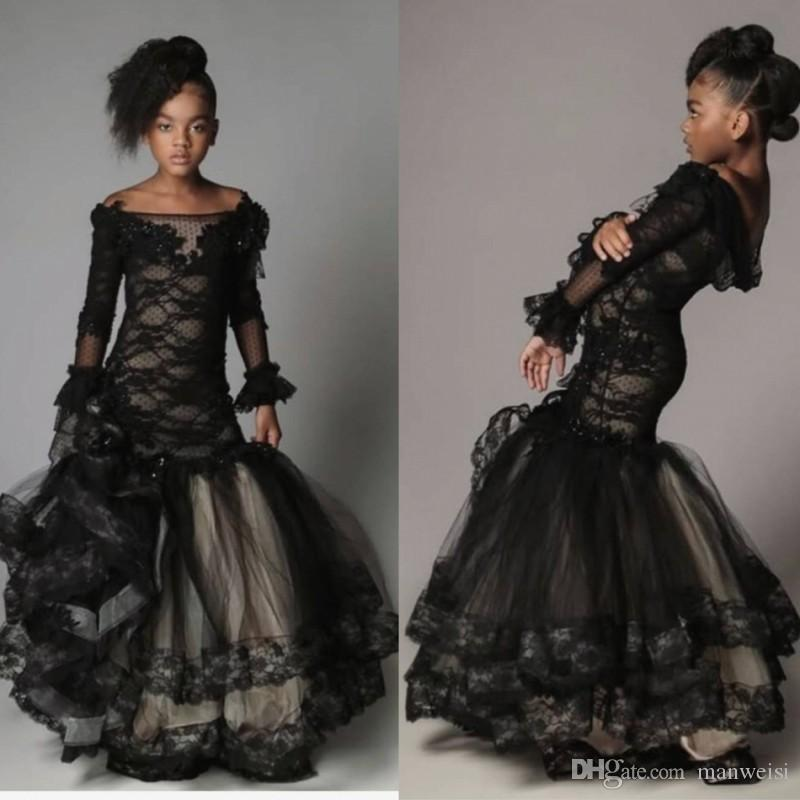 Vintage Mermaid Black Girls Pageant Abiti al largo della spalla Appliqued pizzo Flower Girl Dress per matrimoni Manica lunga Teens Prom Gowns
