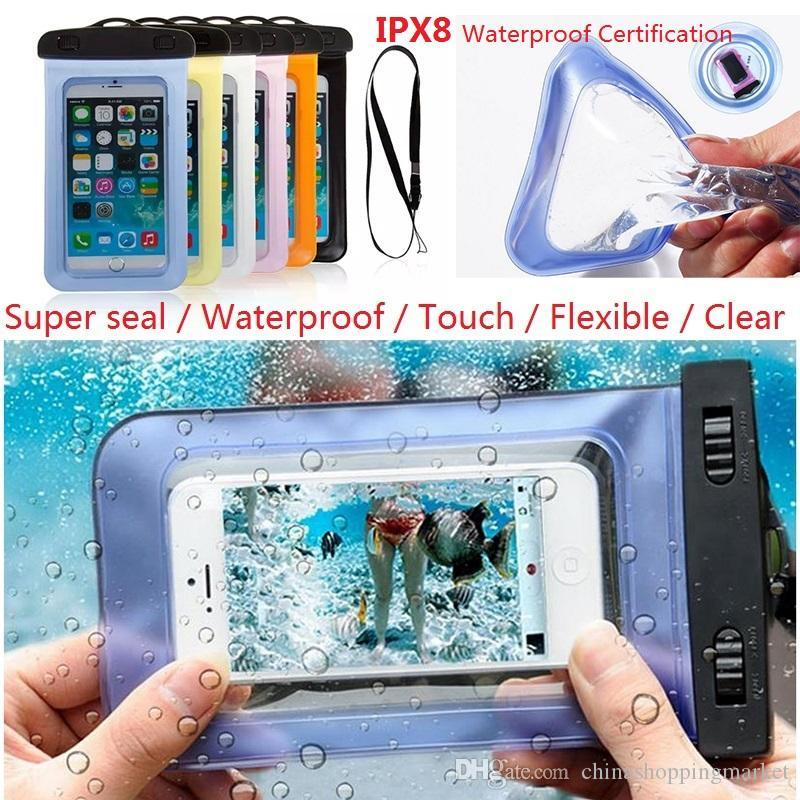 Universal Sealed Waterproof Case Dry Bag Compass Neck Pouch Bags For iPhone  X 8 7 6S Plus Samsung S8 S9 Plus Diving Swimming Pouch Bags