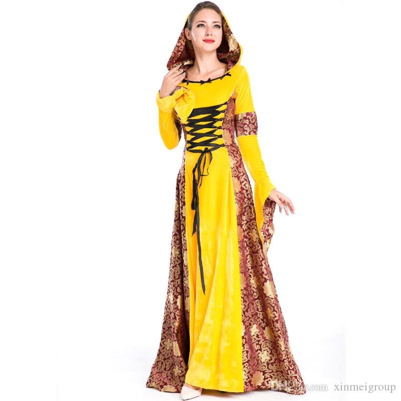 Hot Sale Women Renaissance Medieval Gothic Yellow Long Dress With Hood Halloween Costumes Gypsy Church Notre Dame Cosplay Dress A158739 Funny Halloween ...  sc 1 st  DHgate.com & Hot Sale Women Renaissance Medieval Gothic Yellow Long Dress With ...