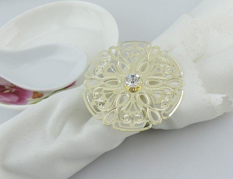 Silver FLORAL RHINESTONE NAPKIN RING High Quality New Design Bling Rhinestone Diamond Crystal Elegant Wedding Party Table Decoration