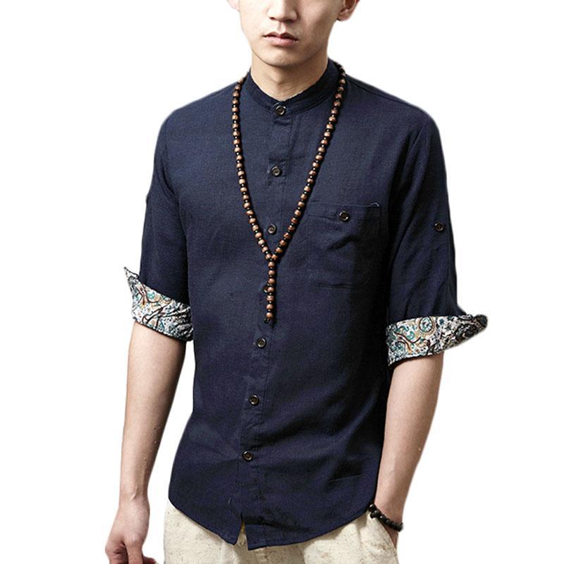 Para Homens Japonesas Compre Camisas Linho Designer Atacado De qFPg66