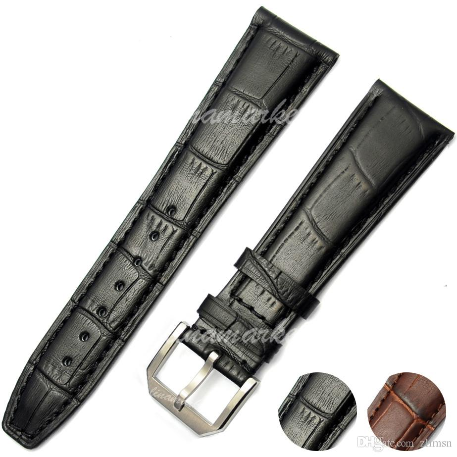 0ee126d90e75 Genuine Leather WatchBand Strap 22mm Buckle 18mm New Stainless Steel ...