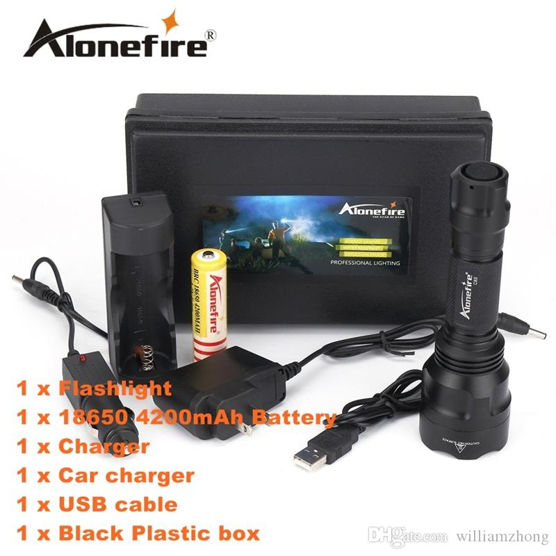 ALONEFIR C8s Cree XML T6 LED Tactical Flashlight Torch With USB charger and 18650 Rechargeable battery