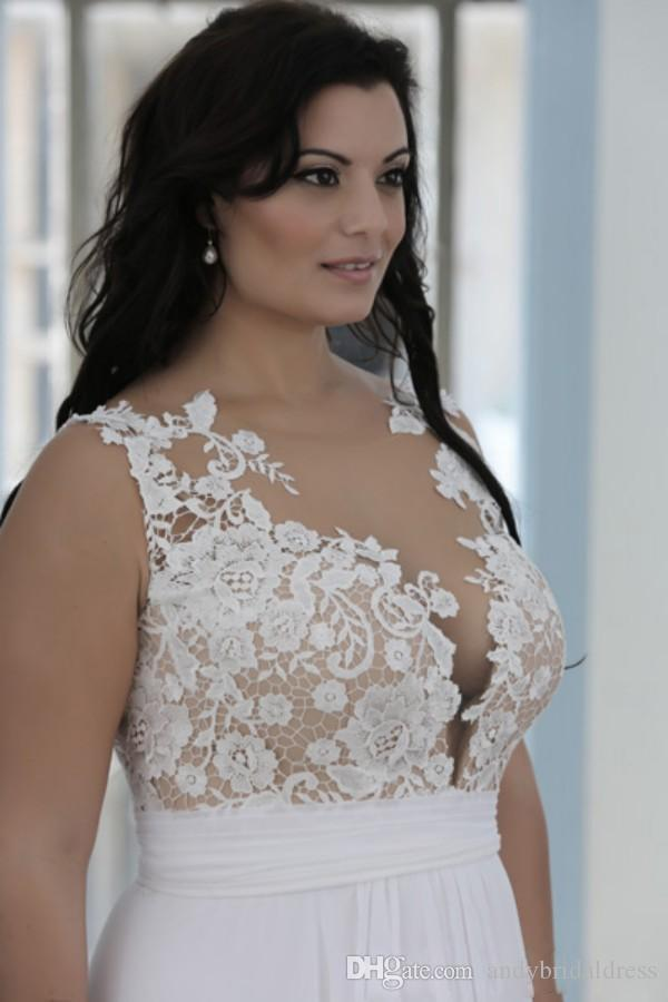 Plus Size Beach Wedding Dresses A Line Sheer Bateau Neck Sweetheart Lace Top Bridal Gowns White Nude Cheap High Quality Brides Gowns