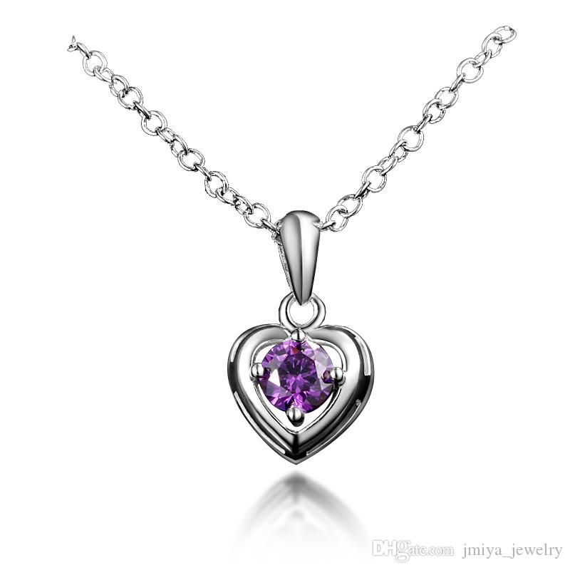 Wholesale Heart Designs Real Silver Material Pendant Necklace For ...