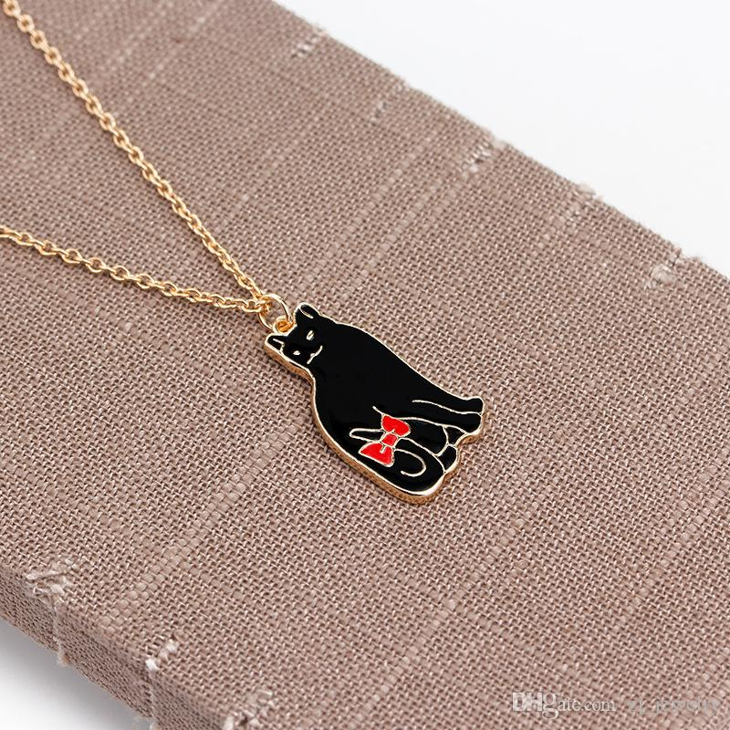 Niedlichen Tier Charms Weiß Schwarz Emaille Japan Katze Anhänger Halskette Für Frauen Katze Liebhaber Schmuck Geometrische Delicate Clavicle Ketten