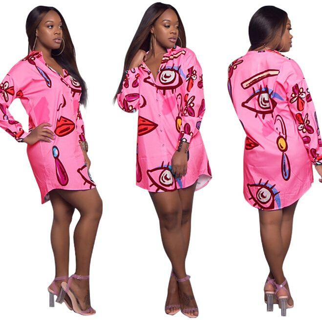 Vestiti casuali alla moda Vestiti alla camicetta stampati eleganti Vestiti mini allentati Plus Size Clothing
