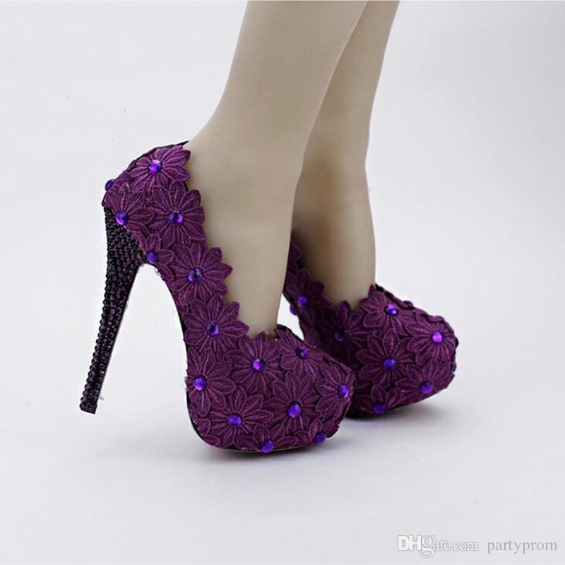 Lila Spitze Blume Braut Schuhe 14 cm High Heel Pfennigabsatz Formelle Kleidung Schuhe Frauen Designer High Heels Abschlussball Pumps