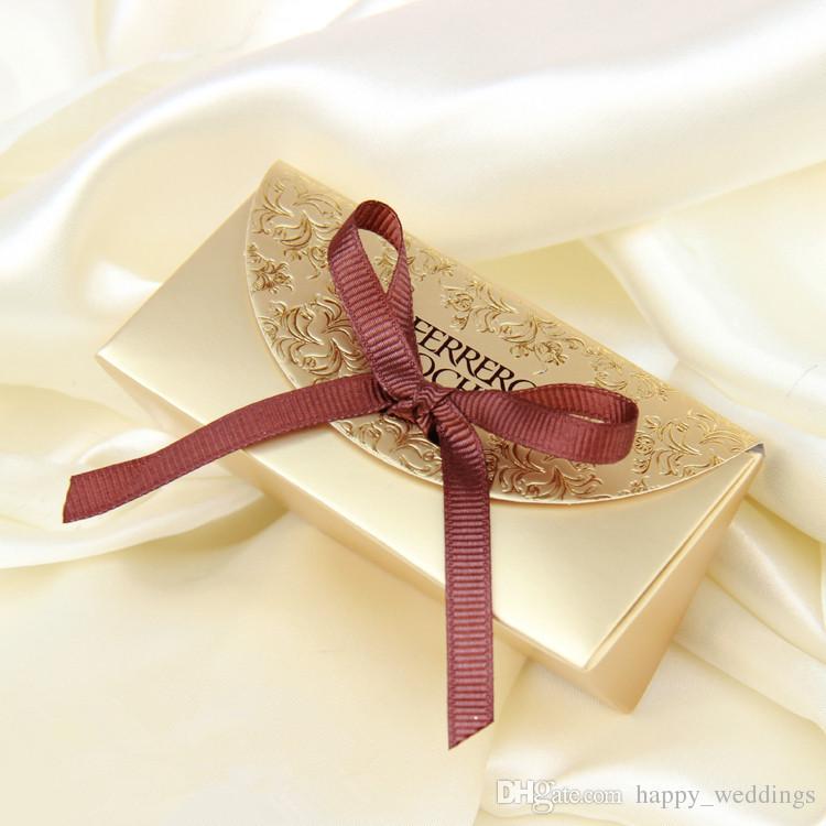 O envio gratuito de caixa de presente de Casamento caixa de doces de Ouro saco de açúcar de açúcar criativo 2 saco de presente de casamento clássico Ferrero Rocher caixa de partícula de ouro