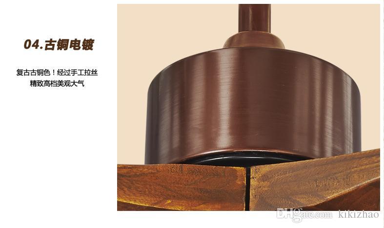 LED industrial Fan light solid wood door leaf dining room ceiling fans American rustic living room ceiling fan lights