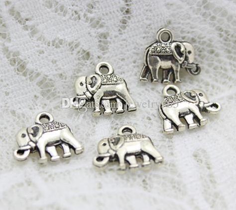 150 pçs / lote Antigo Banhado A Prata Elefante Liga Encantos Pingentes Para Jóias diy Fazendo achados 12x14mm
